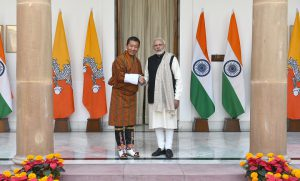 The Prime Minister of Bhutan, Lotay Tshering, with the Indian Prime Minister, Narendra Modi, in New Delhi on December 28, 2018