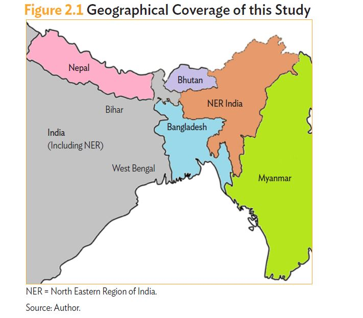 map of north eastern region of india, geographical coverage of study