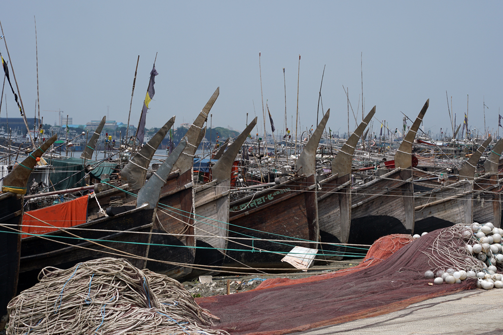 Small-scale artisanal gillnetters moored in Fish Harbor in the eastern seaport city of Chittagong