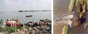 The usual attempt to shore up an embankment in North Bihar (left) and an embankment is breached in the Kosi basin (right) [Images by: Rajiv Sinha]