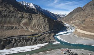 Confluence of Indus and Zanskar rivers originating in the high Himalayas