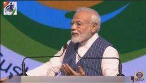 Indian Prime Minister Narendra Modi speaking at the UNCCD COP in New Delhi