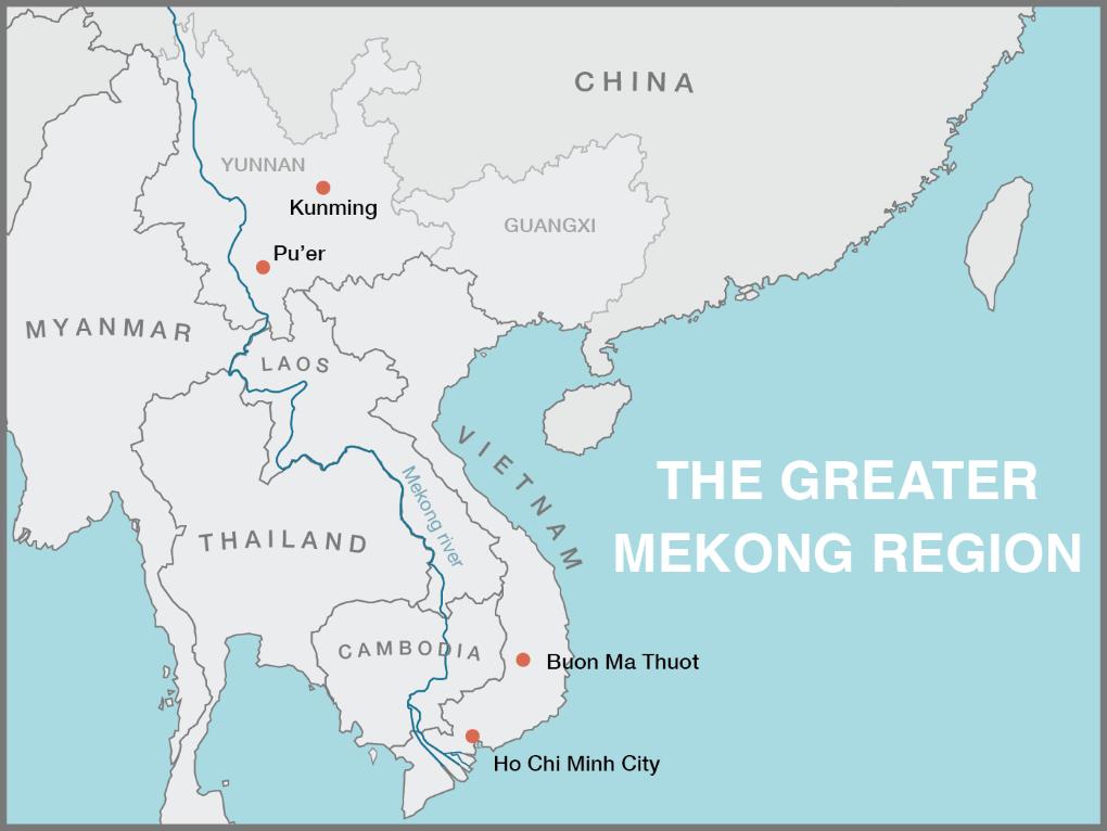 Map of greater Mekong region