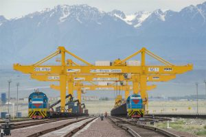 "Trains of different gauges, from China and Kazakhstan, transferring loads at the Khorgos ""dry port"" (Image: Alamy)"