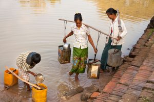 people collecting water in Myanmar