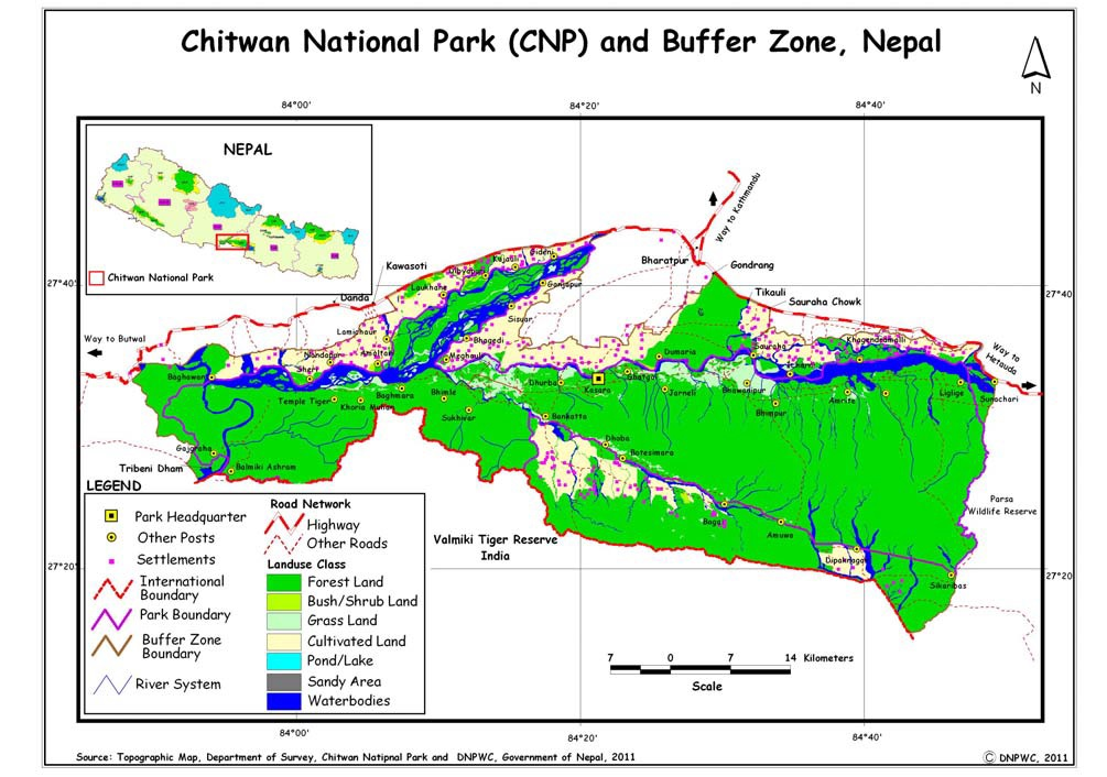 Map of Chitwan National Park (CNP) and Buffer Zone, Nepal