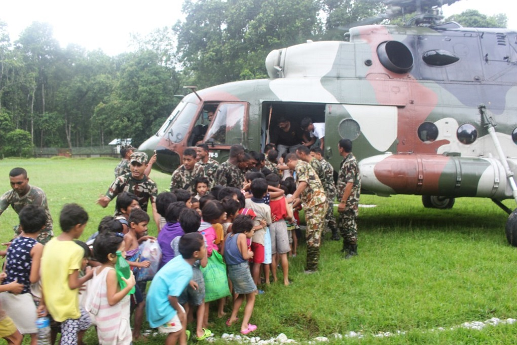 The army carrying out outreach work with local children