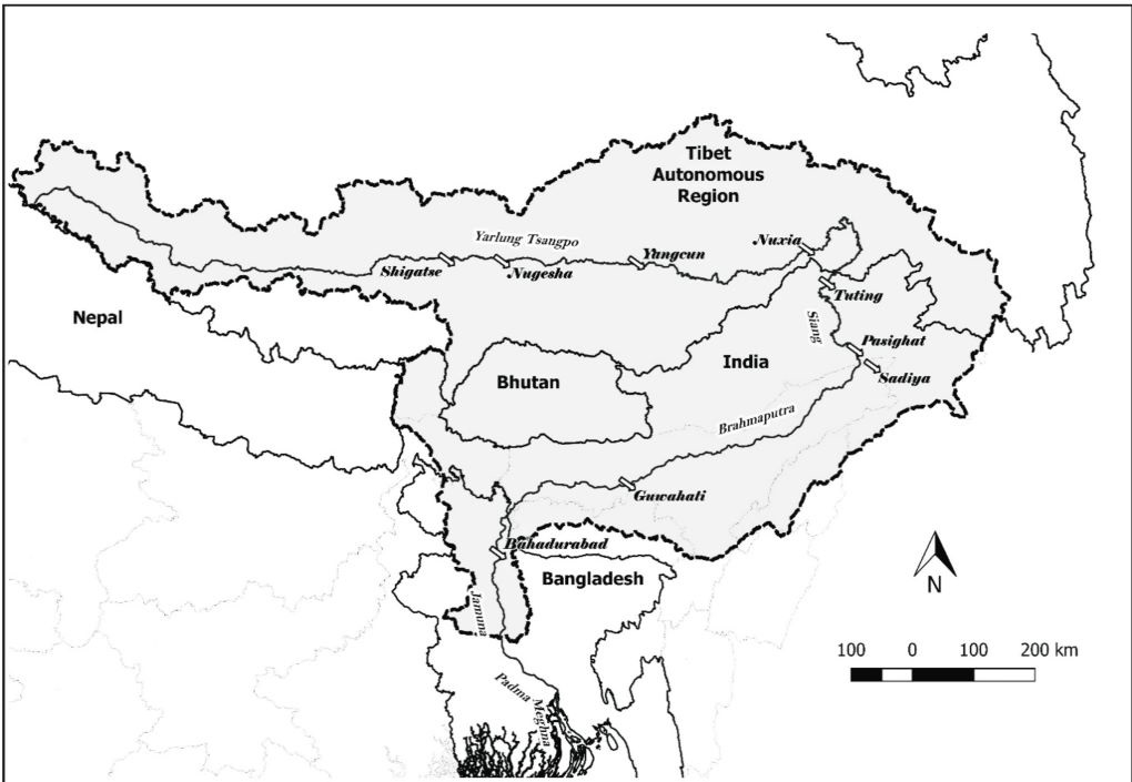 The Brahmaputra sub-basin [map prepared by authors]