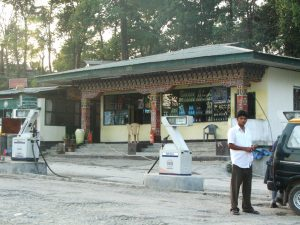 Phuentsholing Gas Station in Bhutan. Petrol stations create problems of emissions in a country too dependent on cars [image by: Omair Ahmad]