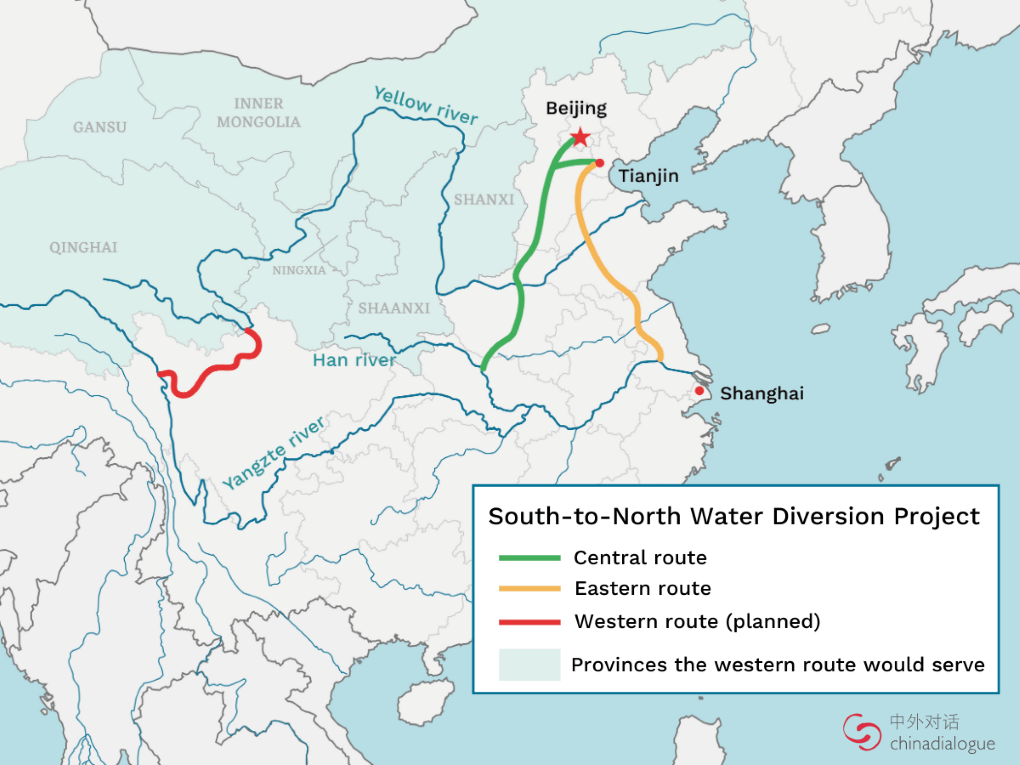 Map of South-to-North Water Diversion Project showing central route, eastern rout and western route (planned). Shaded light blue are the provinces the western route would serve