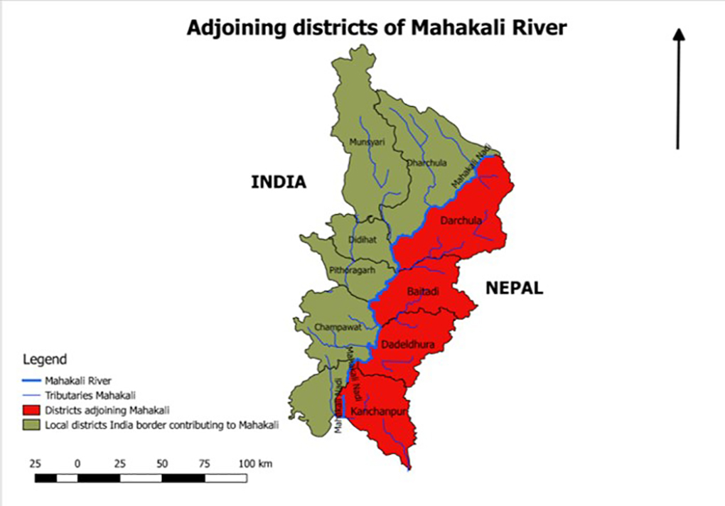 Map of adjoining districts of Mahakali River.