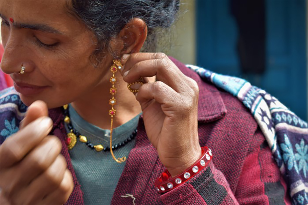 Jayanti Dhami earned enough from her farm to buy this pair of gold earrings