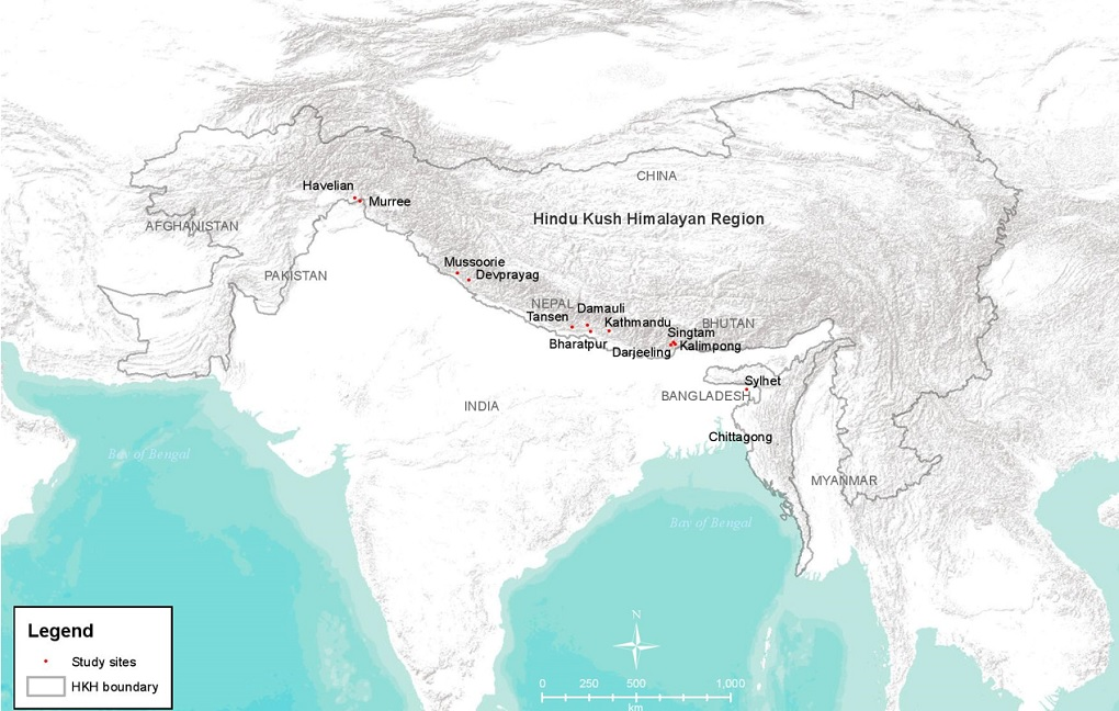 Map of HKH showing the towns included in the study: Murree and Havelian in Pakistan; Kathmandu, Bharatpur, Tansen and Damauli in Nepal; Mussoorie, Devprayag, Singtam, Kalimpong and Darjeeling in India; and Sylhet in Bangladesh [image by: ICIMOD]. This is a physical map and does not show any political boundary.