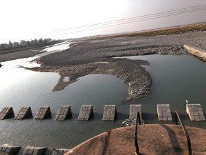 The Mahakali river at the India-Nepal border, downstream of the Sharada barrage [Image by: Joydeep Gupta]