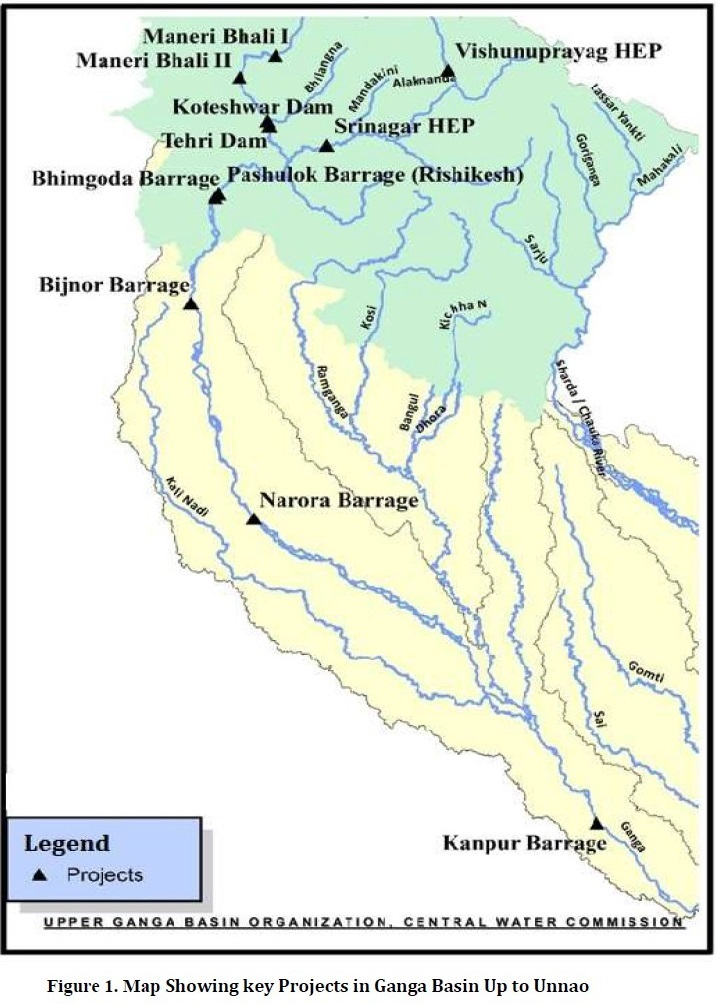 map displaying key projects in the upper ganga basin up to unmao