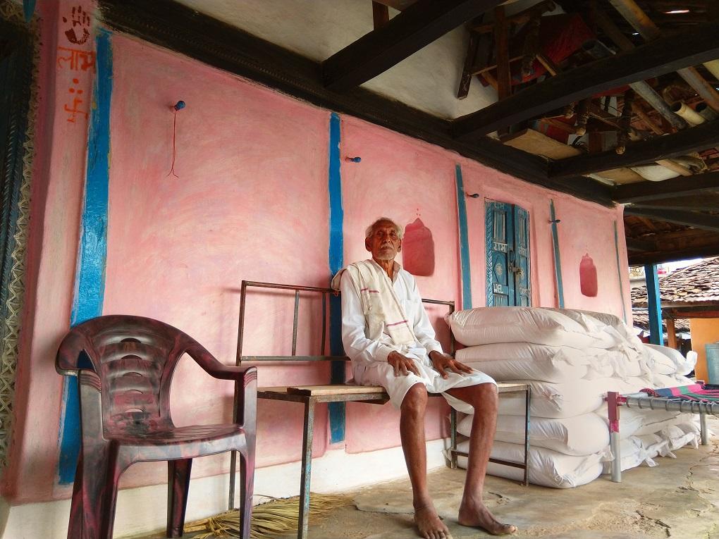 Motiram Meena in the verandah of his home