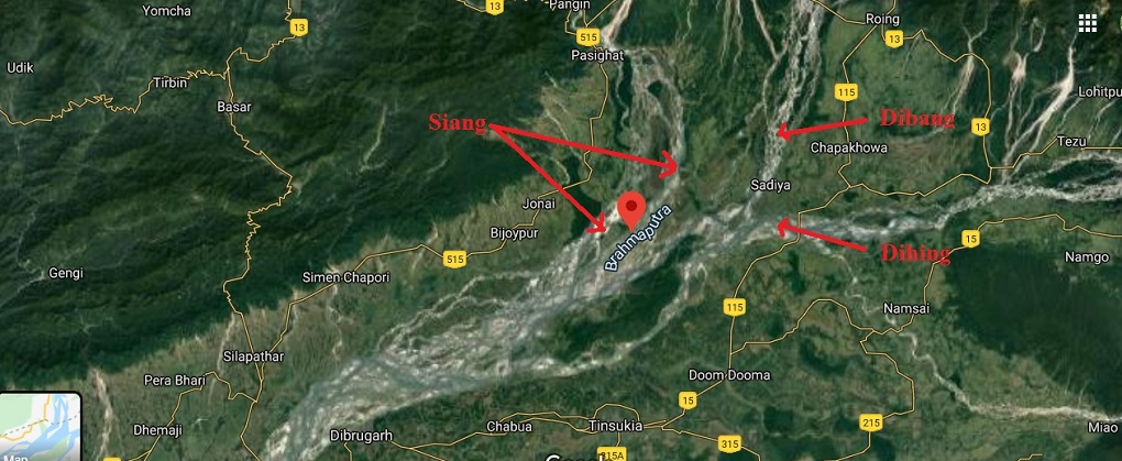 map of confluence of Siang-Dibang-Dihing [Google map adapted by Farhana Ahmed]