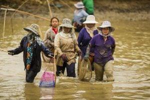 five women walk through fishing pond on Mekong river