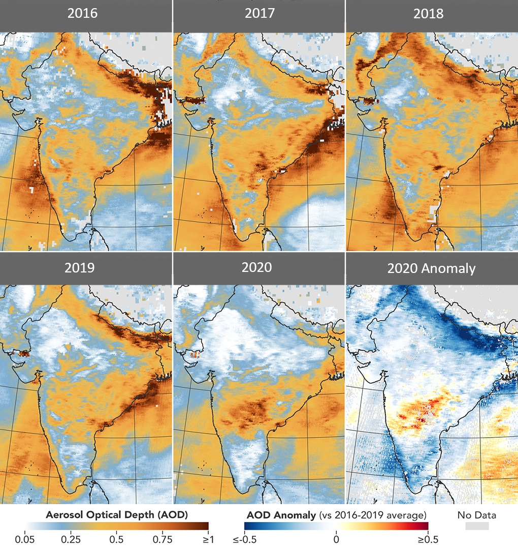 Data from the Terra Satellite's Moderate Resolution Imaging Spectroradiometer (MODIS) shows aerosol optical depth (AOD) measurements over India from March 31 to April 5 each year from 2016 to 2020. The sixth map shows a strong anomaly in AOD in 2020 compared to the average for 2016-2019