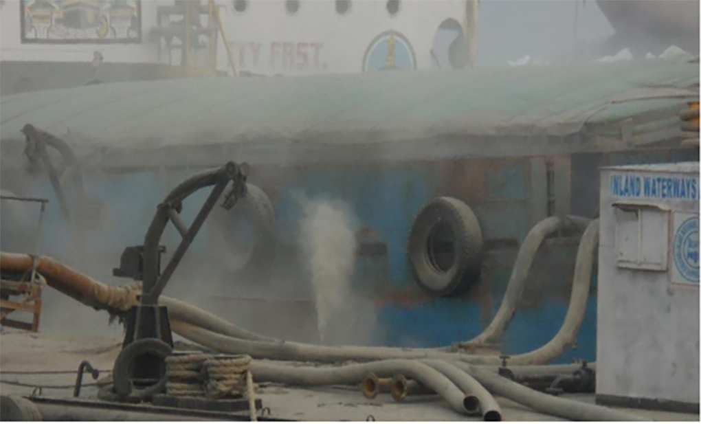 Fly ash blows into the air due to faulty pipes [image courtesy: Legal Initiative for Forest and Environment]