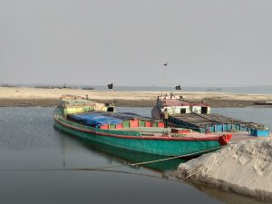 Bangladeshi barges loaded with stone chips at Dhubri, a port of call along the Kolkata-Silghat protocol route