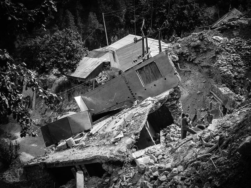 House damaged during the 2013 monsoon in Pangi, a village in Kinnaur, Himachal Pradesh
