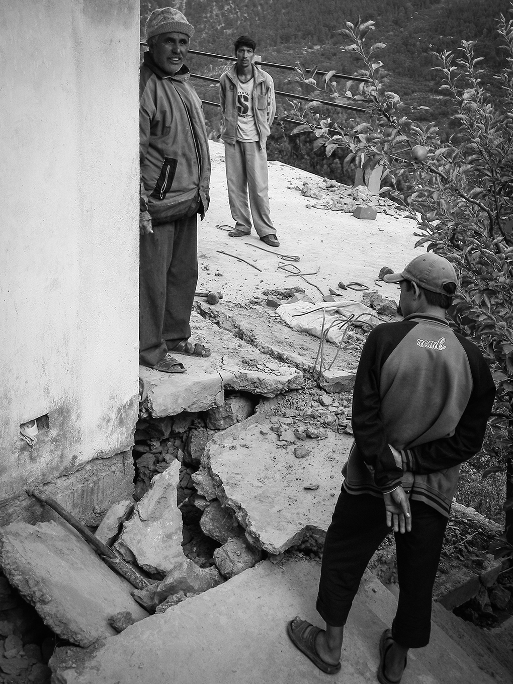House damaged due to slope failure in Pangi village, affected by Kashang stage 1 hydroelectricity project in Kinnaur, Himachal Pradesh