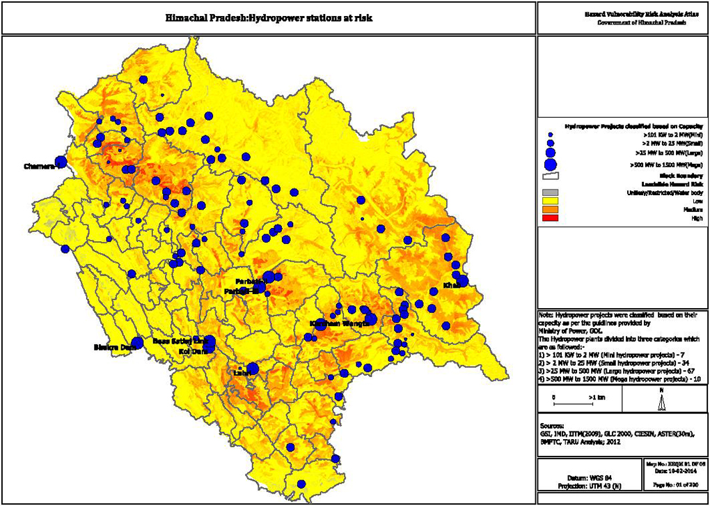 map of Himachal Pradesh hydropower stations at risk