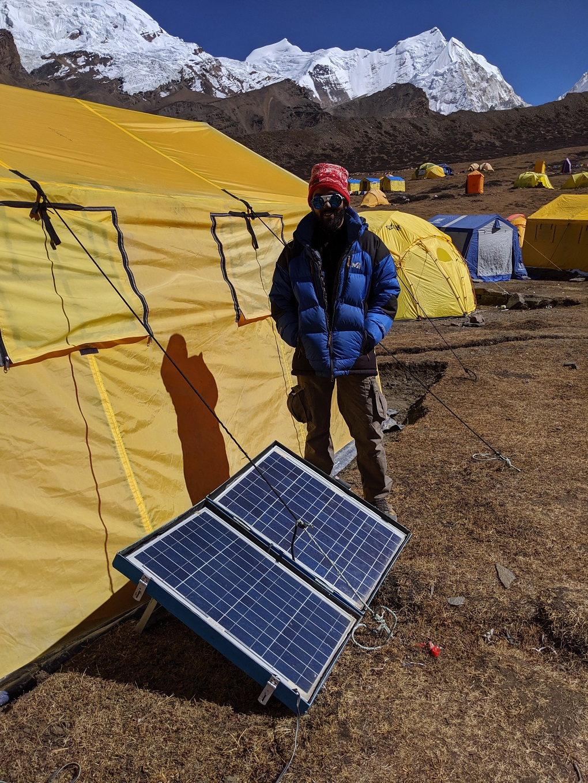 Solar panels in use at Himlung Himal base camp (2019) [image courtesy: Harshvardhan Joshi]