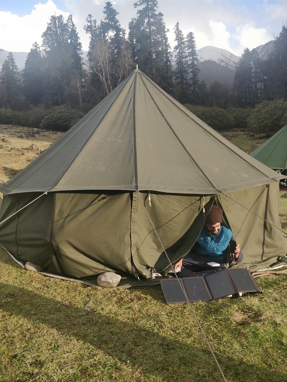 Using a solar panel to light up tent [image courtesy: Harshvardhan Joshi]