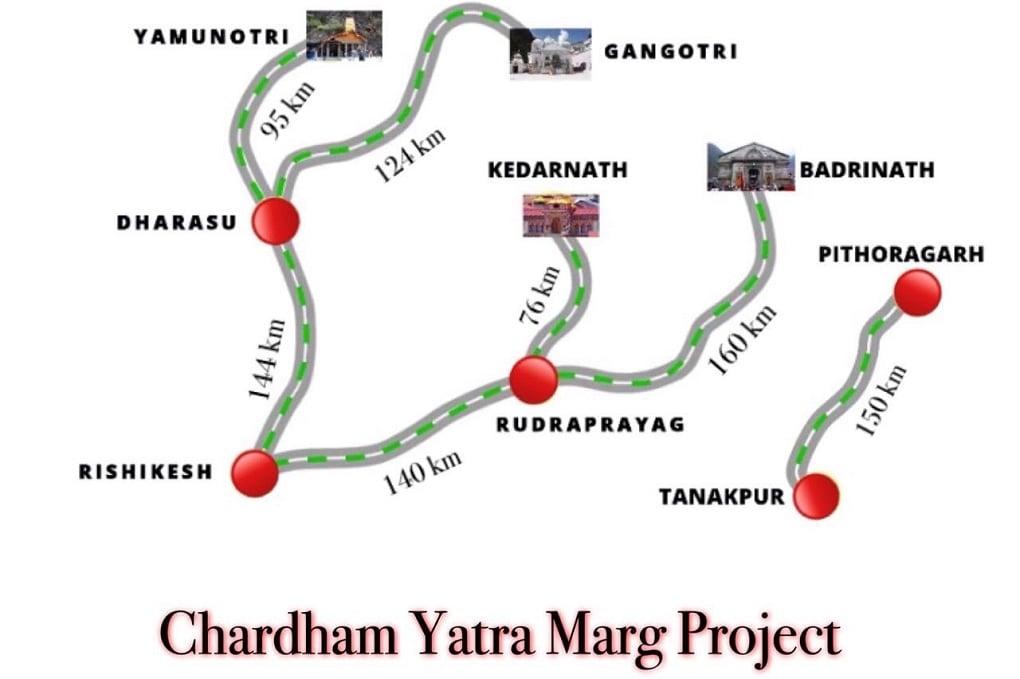 Diagram of chardham yatra marg project