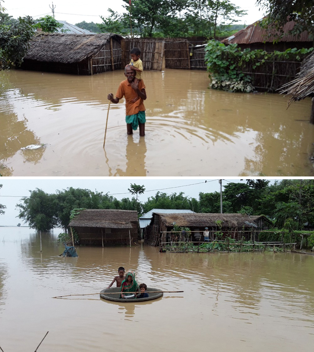 Villagers are forced to wade or use makeshift rafts to move out of their flooded homes [images by: Kailash Singh]