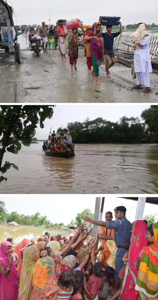 Residents move out when their village is totally flooded (top). Boats are used to move people to relief camps (middle). In the relief camps, people have to scramble for basic supplies, such as puffed rice (bottom) [images by: Kailash Singh]