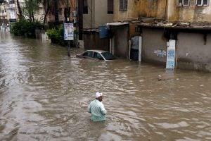 A flooded Karachi neighbourhood on August 27, 2020 [Image by: Alamy]