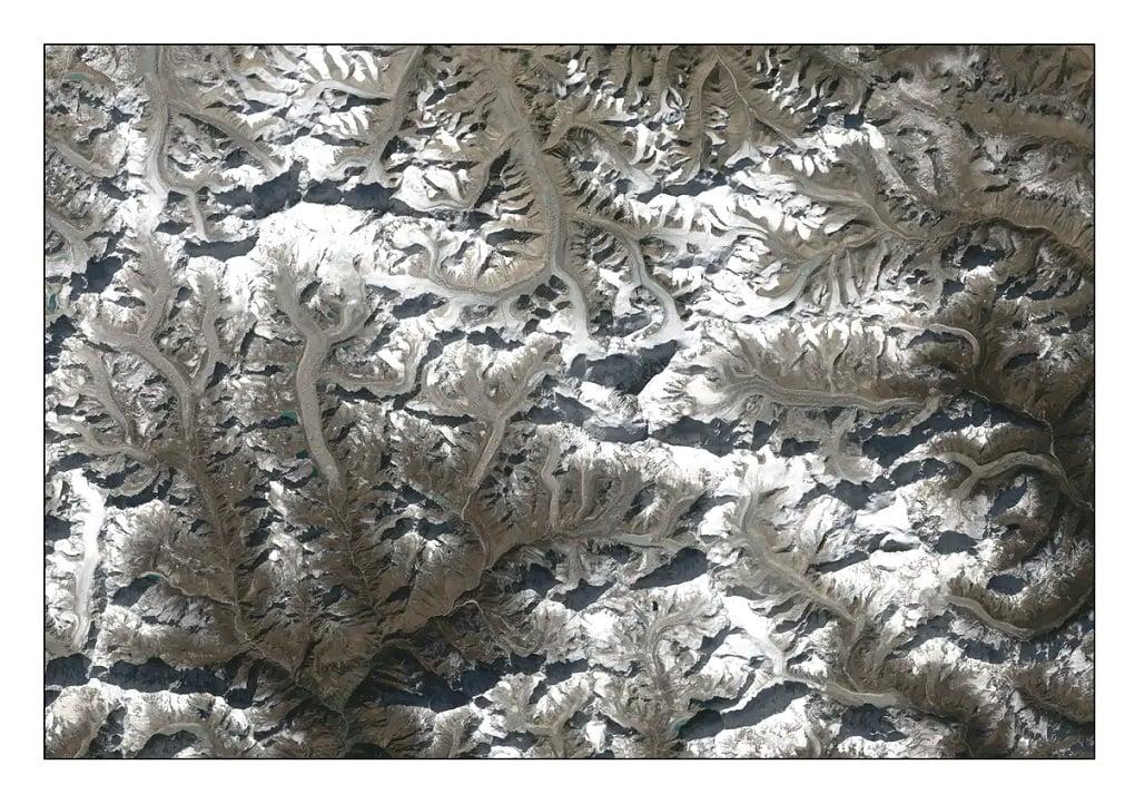 NASA Landsat satellite photograph showing glaciers in the Everest region [image by: NASA]