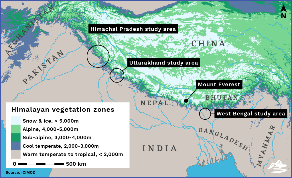 Vegetation zones in the Himalayas map, The Third Pole