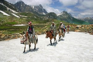 Herders ride their ponies to work in Kashmir [image: Alamy]