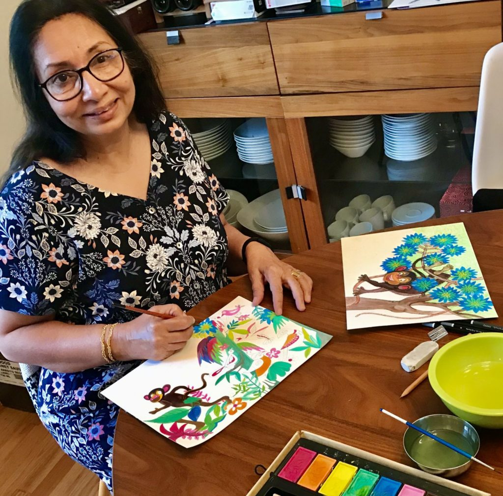 Rumana Husain illustrating her new storybook