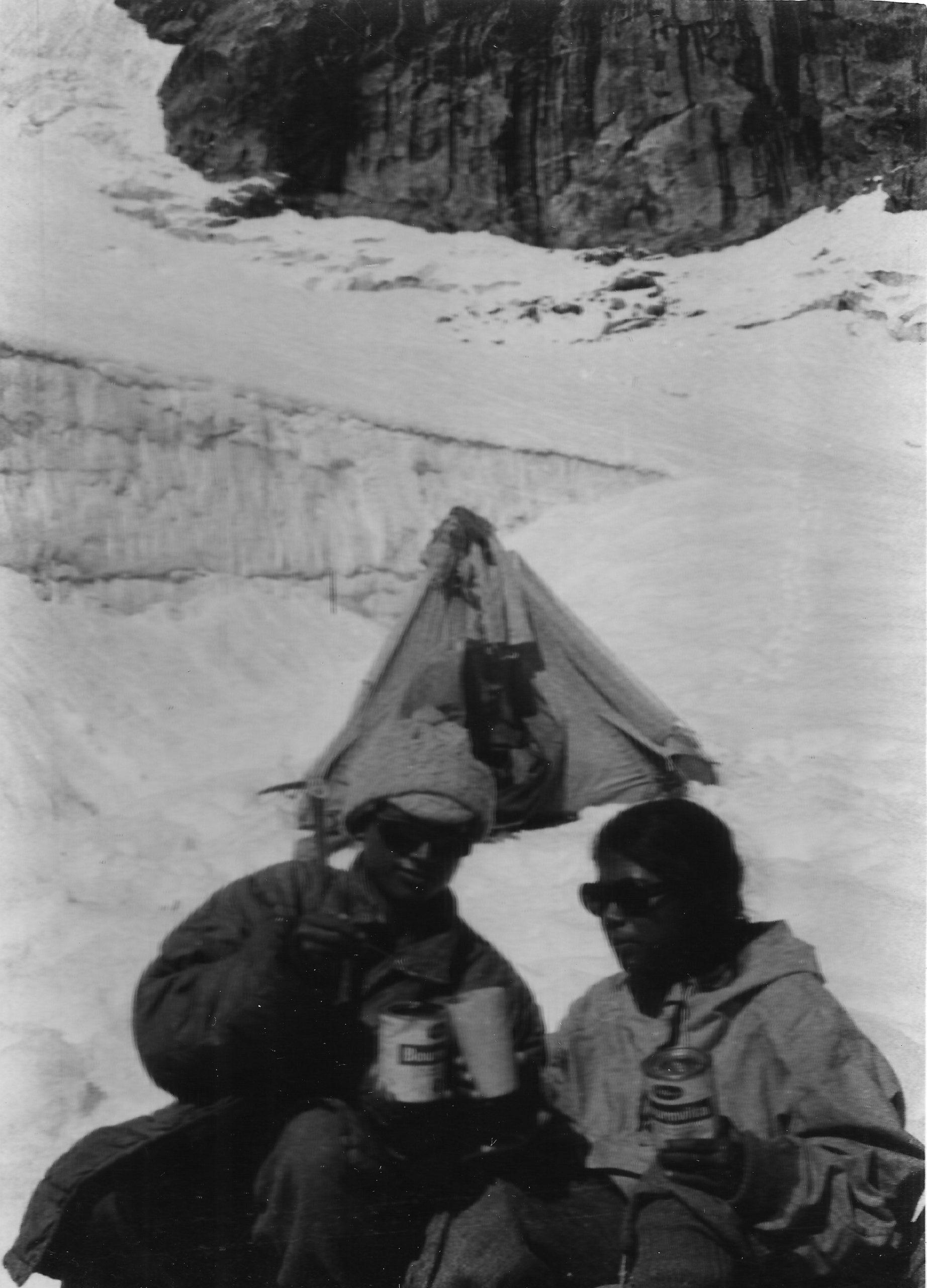 Enjoying tea at camp III, 18,000 feet, with Kamala (left) and Sudipta (right) [image by: Sudipta Sengupta]