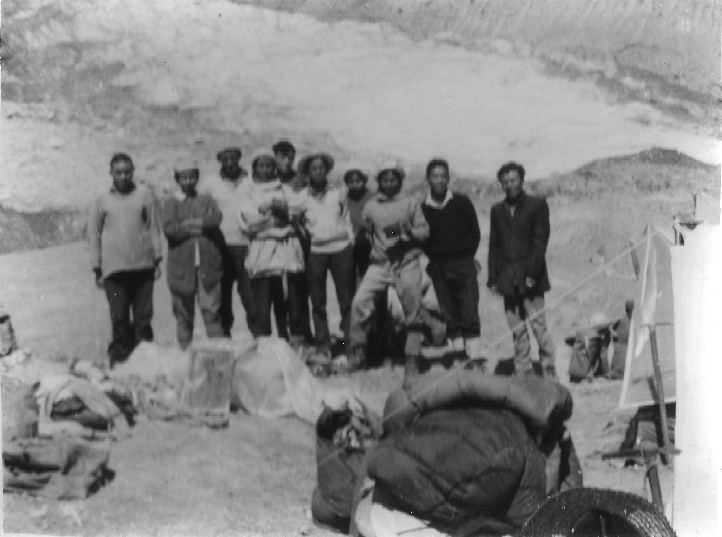 At the base camp, before the climb began. From left: Lama (porter), Shefali (member), Palgun (porter), Sujaya (leader), Pasang (Sherpa), Purnima (doctor), Nilu (member), Kamala (member), Gylgen (Sherpa), Gupta Ram (cook) [image by: Sudipta Sengupta]