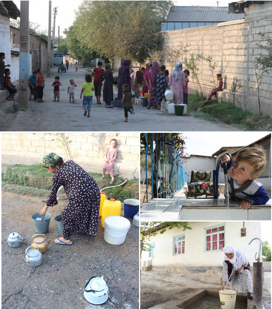 Even during the Covid-19 pandemic, queues and crowding at water supply points are common (top and bottom left); a drinking water spout in a school (middle right); in the absence of any supply at home, women have to carry buckets of water, often more than once a day (bottom right) [Images by: Firuza Karimova]