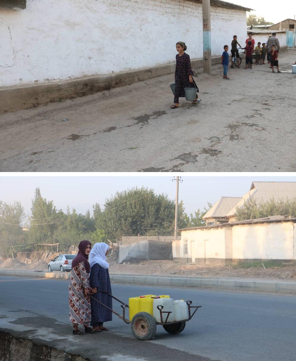 Two women fetching watr using trolleys, Tajikistan