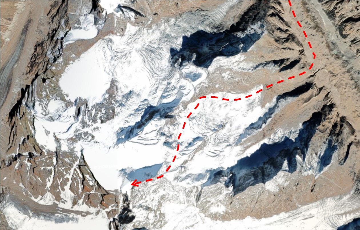 map of feeder glacier to Lalana adapted from Google Earth [Image by Sudipta Sengupta]