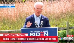 Screen grab of MSNBC's coverage of Joe Biden speaking about climate change and wildfires on America's west coast [image: MSNBC/ZUMA Wire/Alamy Live News]