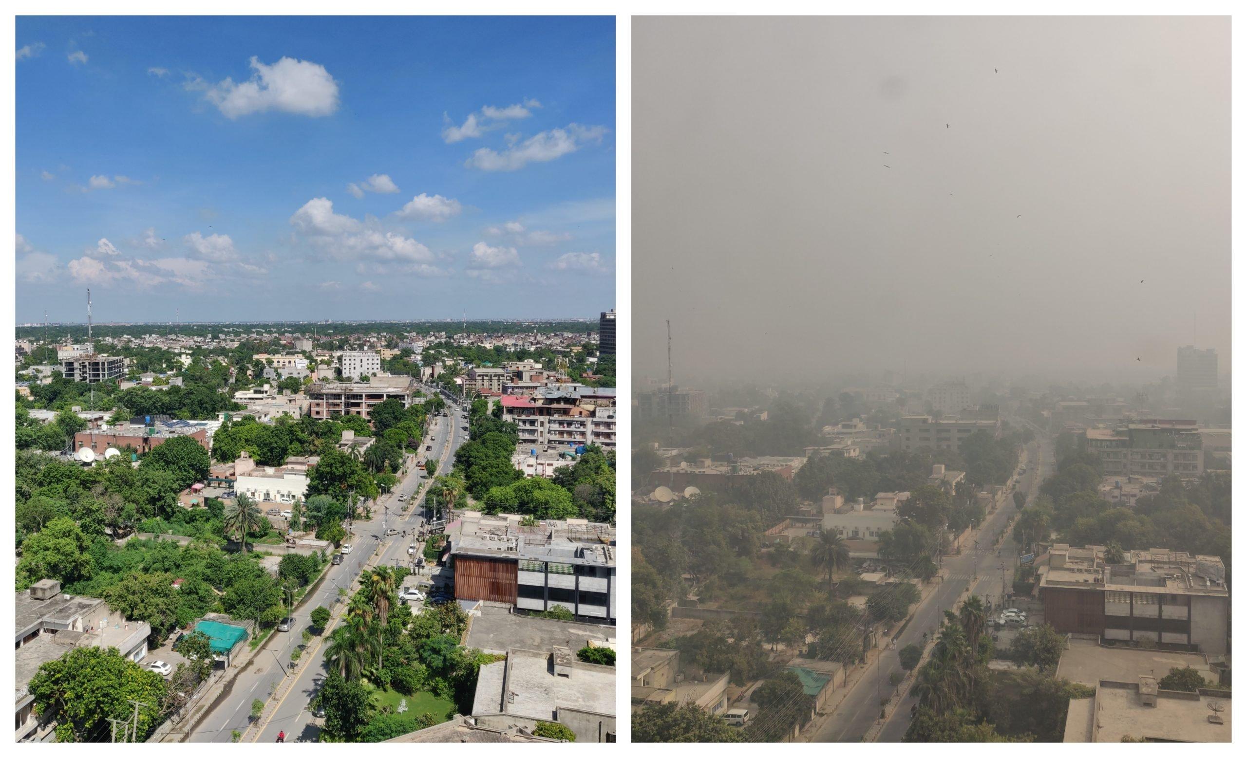 جولائی 2019 (بائیں) اور نومبر 2020 (دائیں) کو مین بولیورڈ گلبرگ لاہور کے رہائشی نے ایک آفس سے علاقے کی تصویر لی ہے جو یہ منظر پیش کررہی ہے۔ [تصویر بشکریہ احمد مزمل]