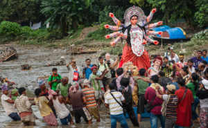 hindu goddess Durga idol immersion