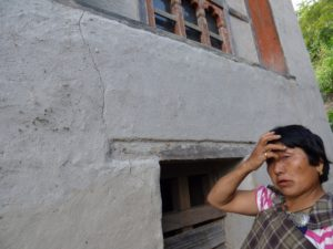 Cracks developed on the wall of a traditional house in Uma village, Wangduephodrang district; villagers claim it to as the affect of blasting at Punatsangchu hydropower site in Wangduephodrang district