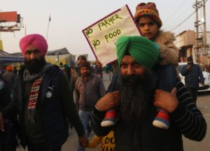 Protesters in New Delhi, India, January 2021 [Image by: Naveen Sharma/SOPA Images via ZUMA Wire]