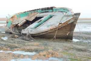 derelict fishing boat near Gwadar on Pakistan's Arabian Sea coast.