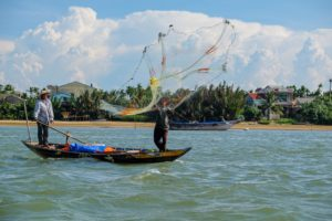 Fishers on the Mekong river in Vietnam. Up to 60 million people depend on the Mekong for food and livelihoods. The 4,350-kilometre waterway originates in China before flowing through Myanmar, Laos, Thailand, Cambodia and Vietnam [Image: Alamy]